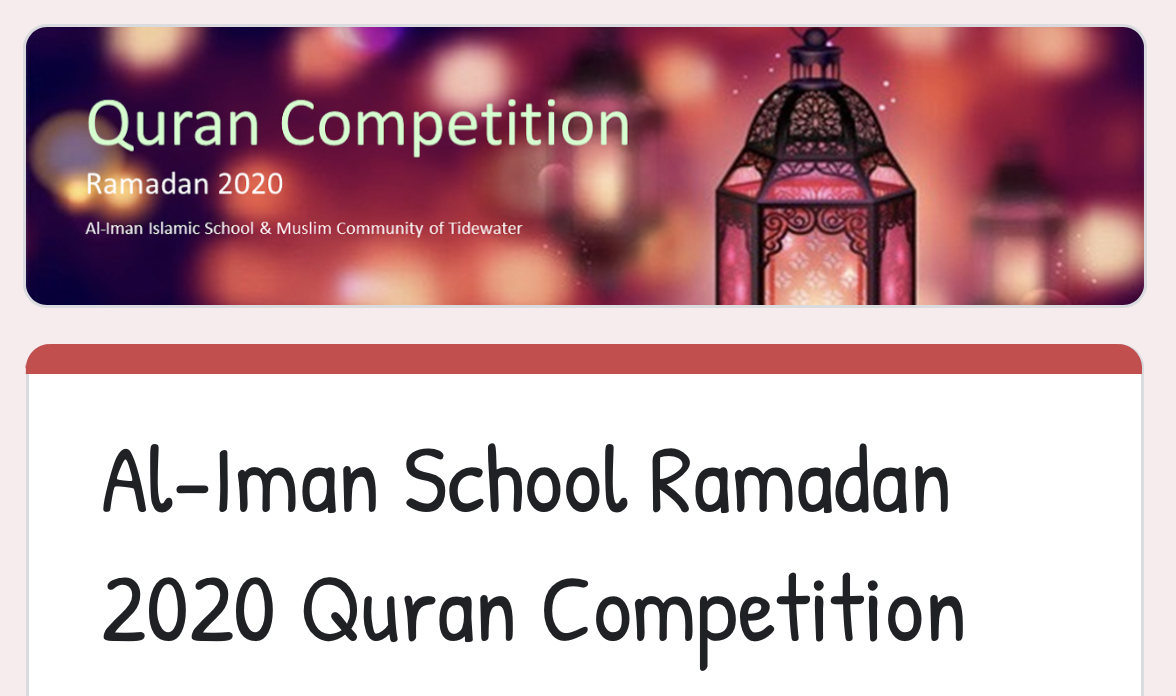 Al-Iman School Ramadan 2020 Quran Competition